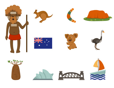 australia landscape: illustration of Australian symbol vector set Illustration