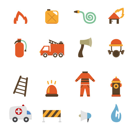 illustration of fireman icons Vector