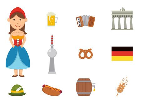 german beer: illustration of german symbol vector set
