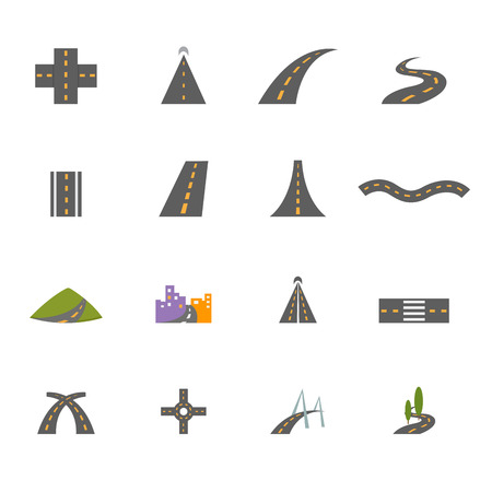 illustration of road icons