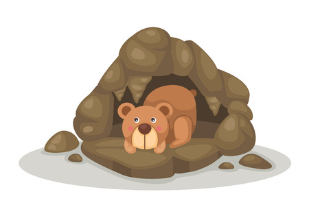 cave house: illustration of bear sleeping in cave