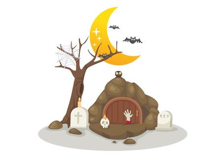 illustration of Halloween tombs Vector