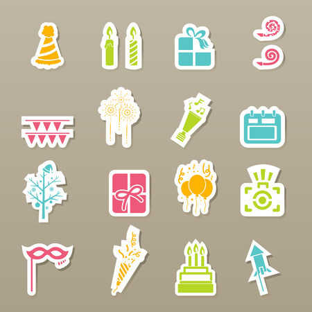 illustration of happy new year icons Vector