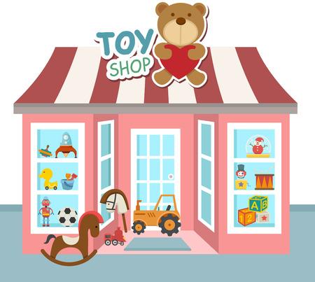 store window: illustratie van de speelgoedwinkel