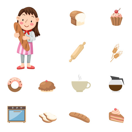 illustration of Baker  icons Vector