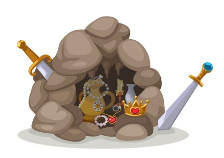 limestone caves: illustration of treasure cave Illustration