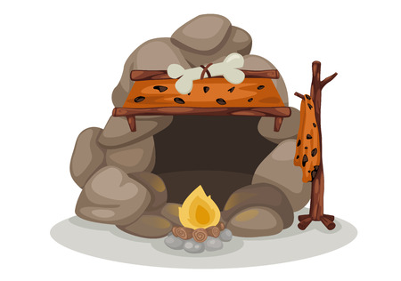 prehistory: illustration of caveman