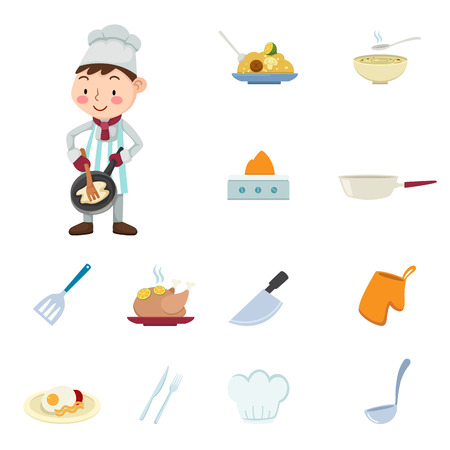 chef s hat: illustration of cuisine icons