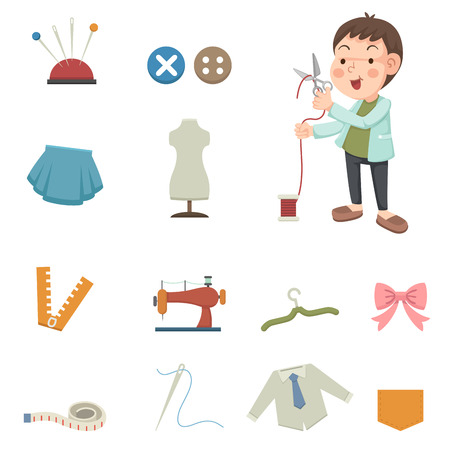 thimble: illustration of designer and sewing equipment icons