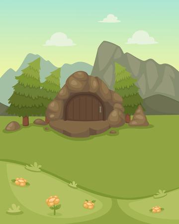 ejemplo de paisaje con la cueva