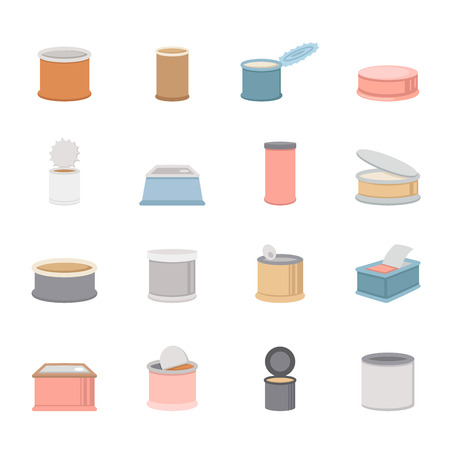 canned goods: canned food icons vector