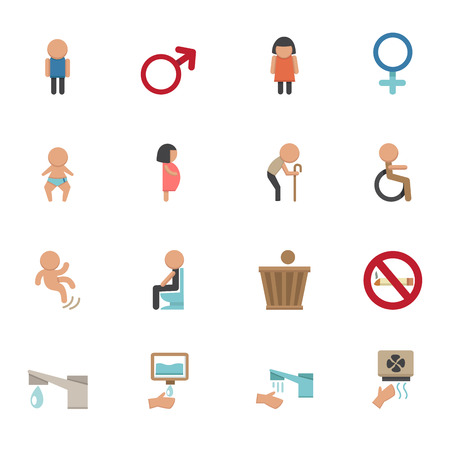 toilet icons vector eps10 Vector