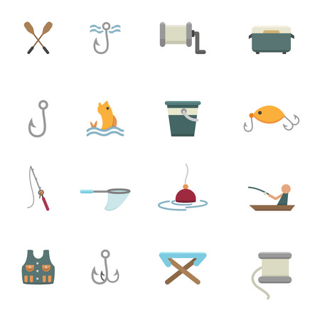 harpoon: fishing and equipment for fishing icons vector eps10