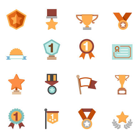 medal ribbon: trophy and awards icons vector Illustration