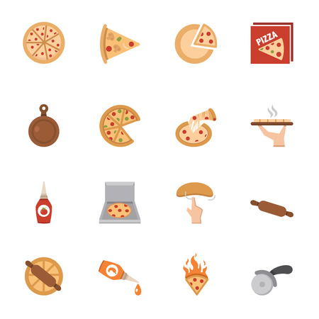 Pizza icons vector eps10 Vector