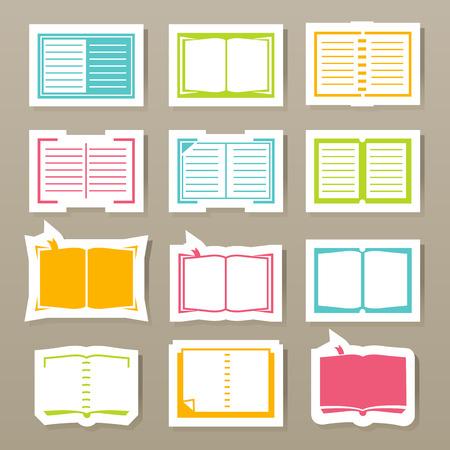 audio book: book icons set vector