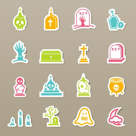 catholic mass: rip icons set vector