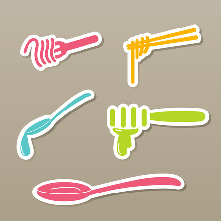 flatware: fork and spoon and chopsticks icons vector