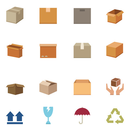 box: Packaging boxes icons vector eps10 Illustration