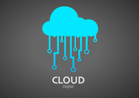 open source: illustration of cloud digital icon Illustration