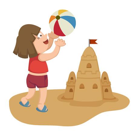 enfant maillot de bain: illustration d'une petite fille jouant sur la plage avec un ballon