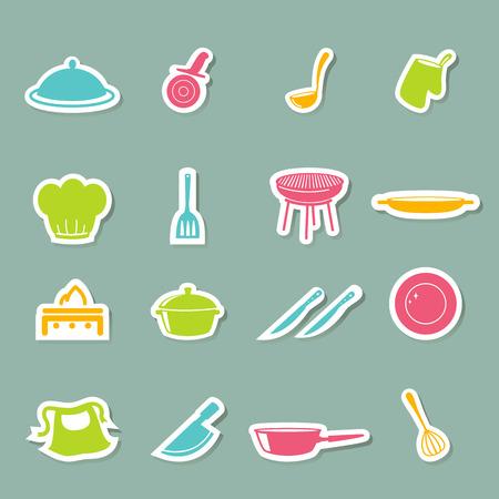 ladle: illustration of kitchen Icons set