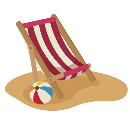 illustrazione di sedia a sdraio e palla vettoriale