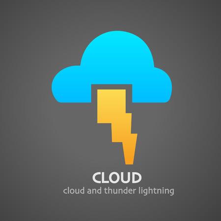 thunder and lightning: illustration of cloud thunder lightning icon Illustration