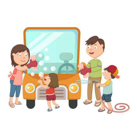 kids having fun: illustration of family washing their car
