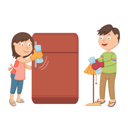 husband and wife: The wife is cleaning the fridge he husband is cleaning the lamp