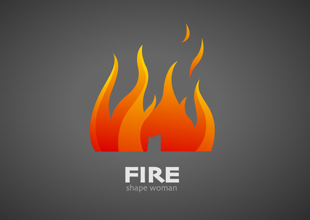 gas flame: illustration of fire shape woman icon Illustration