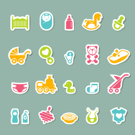 illustration of baby Icons set Vector