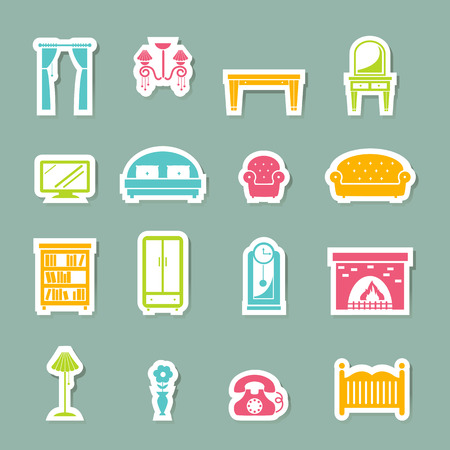 illustration of furniture Icons set Vector
