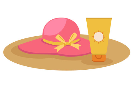sun protection: illustration of sunblock cream with hat vector