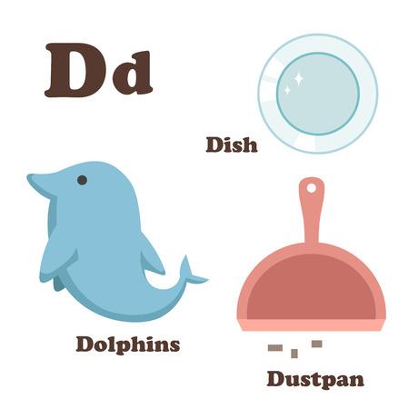 illustration of Alphabet D letter Dish,Dolphins,Dustpan Vector