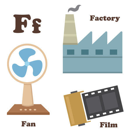 cartoon words: illustration of alphabet F letter Factory,Fan, film