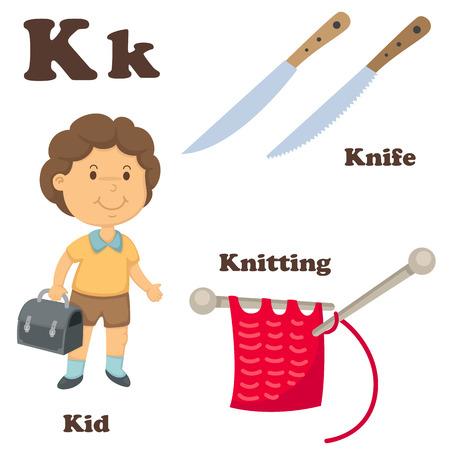 illustration of alphabet K letter Knife,Knitting,Kid Vector