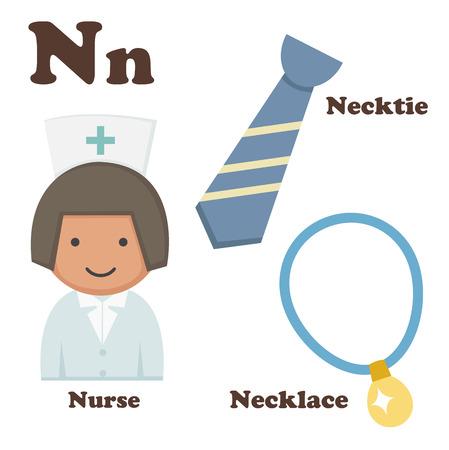 illustration of alphabet N letter Necklace,Necktie,Nurse Vector