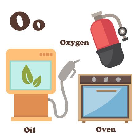 illustration of alphabet O letter Oil,Oven,Oxygen Vector
