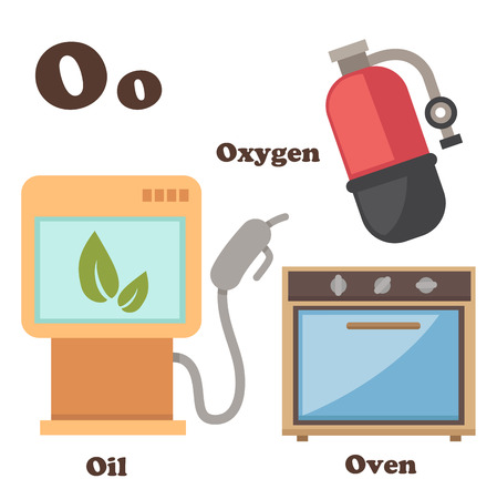 ox�geno: ilustraci�n del alfabeto letra O Aceite, Horno, Ox�geno Vectores