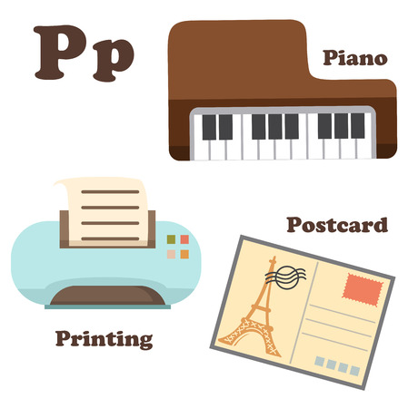 recital: illustration of alphabet P letter Piano,Postcard,Printing Illustration