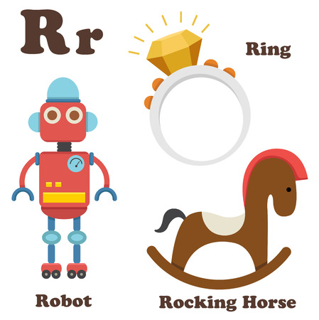 illustration of alphabet R letter Ring,Robot,Rocking Horse Vector