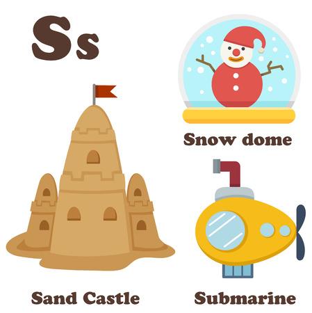alphabet s: ilustraci�n de la letra del alfabeto S Sand Castle, Snow Dome, Submarino