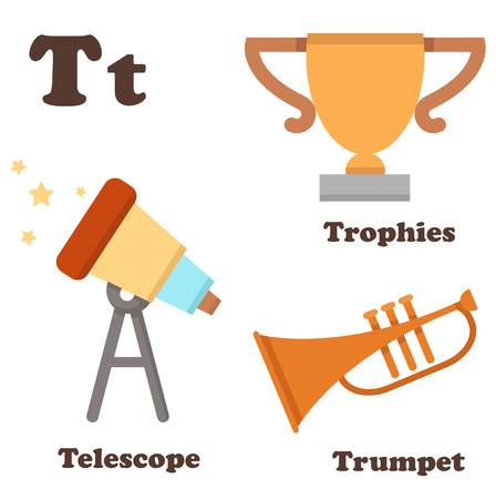 school sports: illustration of alphabet T letter Telescope,Trophies,Trumpet