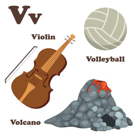 v alphabet: illustration of alphabet V letter Volcano,Volleyball,Violin