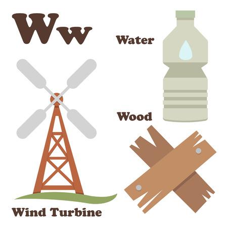 converter: illustration of alphabet W letter Water,Wind Turbine,Wood