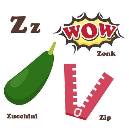 zonk: illustration of alphabet Z letter Zip,Zonk,Zucchini Illustration