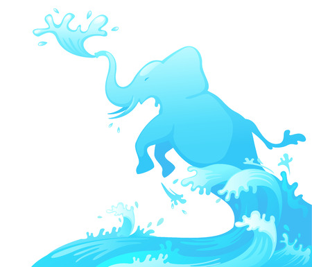 spring tide: illustration of jumping elephant out of water vector Illustration