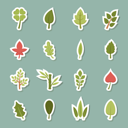 illustration of leaf icons vector eps10 Vector
