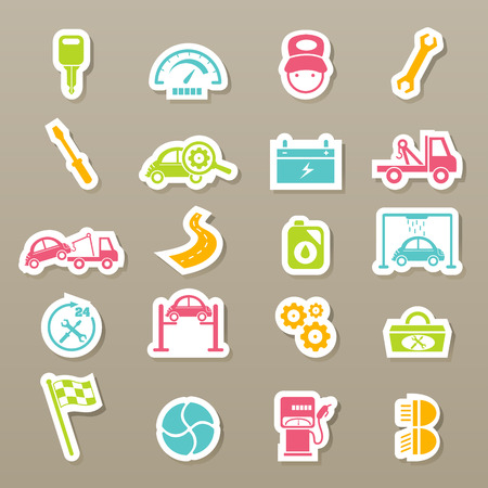 illustration of car service maintenance icons set Vector